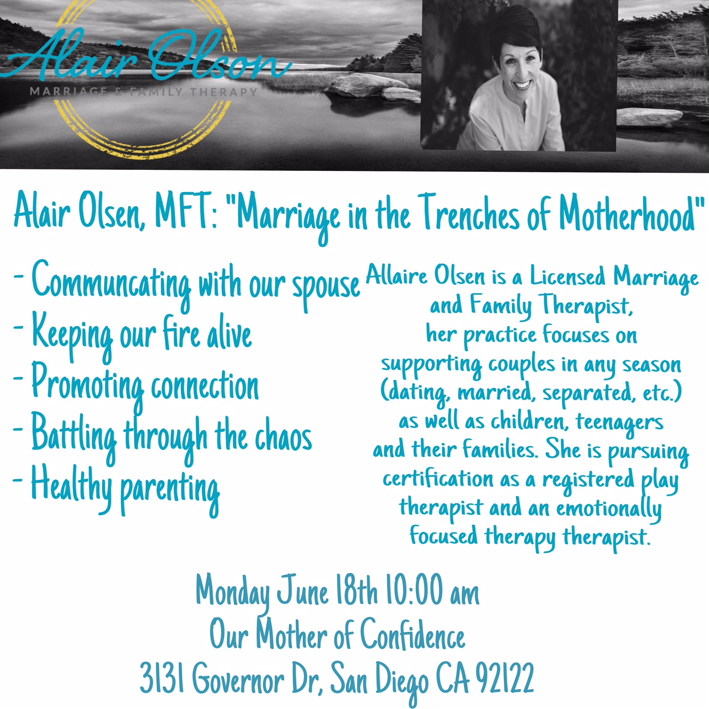 MOPS ( Mother's Group) Speaker: Marriage in the Trenches of Motherhood; Speaker